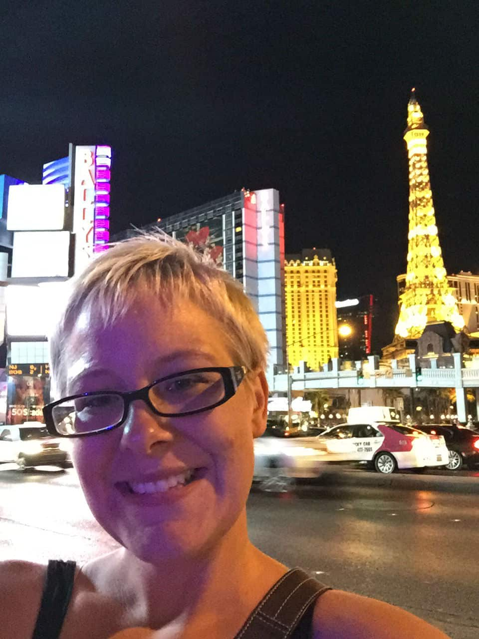 A selfie with the Paris casino in the background.