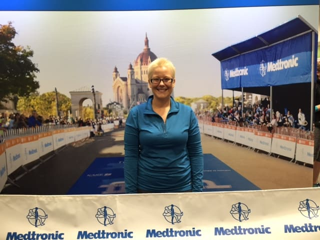 "I got my picture taken at the Medtronic Twin Cities Marathon Expo ""at the course"" finish!"