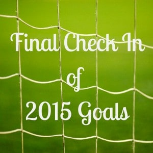 Final Check In of 2015 Goals